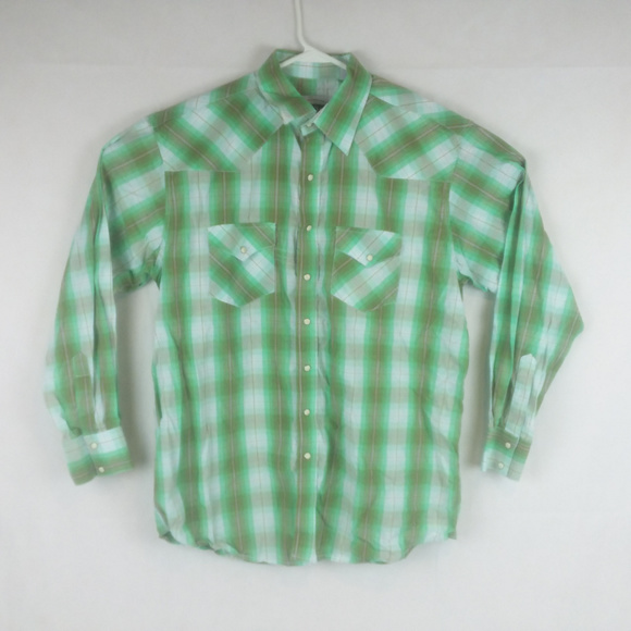Resistol Ranch Shirts Plaid Green Snap Button Country Western